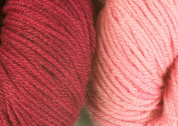 BFL superwash wool dyed with cochineal natural dye extract