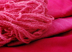Cochineal dyed silk and wool - natural dyes