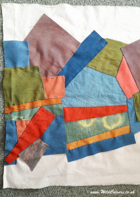 Patchwork quilt with natural dyes